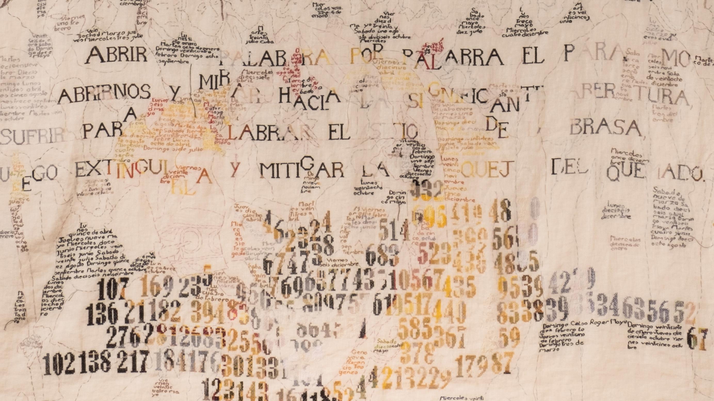 María Gimeno, Abrir palabra por palabra el páramo, 2013-2020 (en proceso). Bordado sobre lino. 210 x 175 cm (detalle)